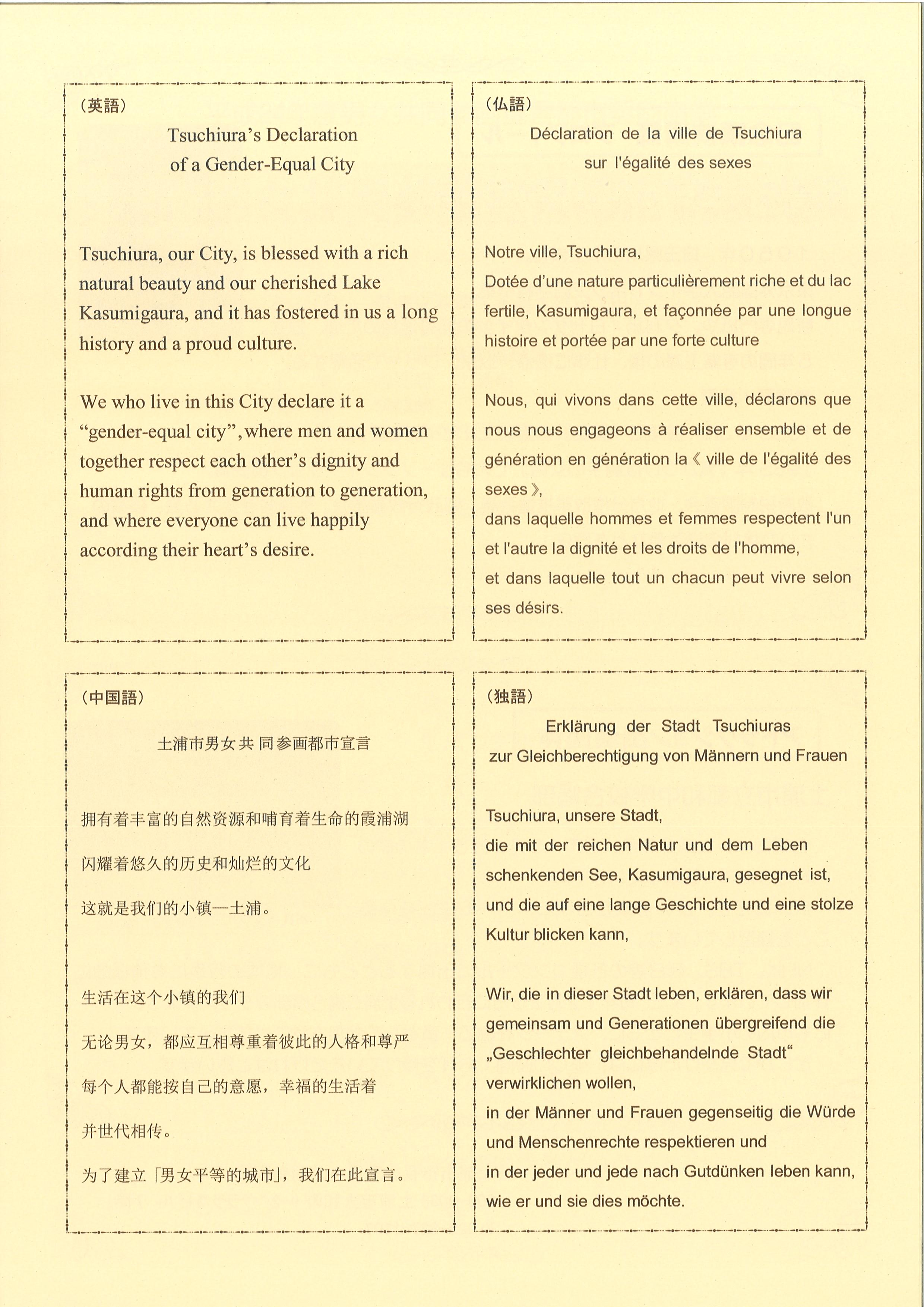 画像:宣言文(外国語訳)