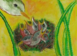 『平成26年度「市の木・市の花・市の鳥」絵画作品小学校高学年の部最優秀賞』の画像