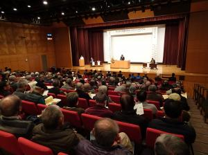 『平成30年度「みんなで協働のまちづくりシンポジウム」会場の様子』の画像