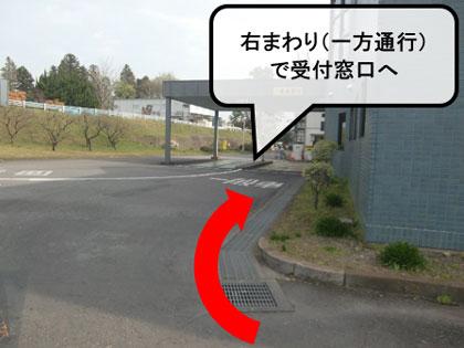 『右回りで受付窓口へ』の画像