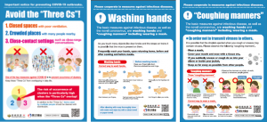 3つの密・手洗い・咳エチケット(英語)