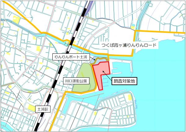 『土浦港周辺サウンディング調査位置図』の画像